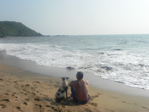 Cola Beach friends with a dog goa india