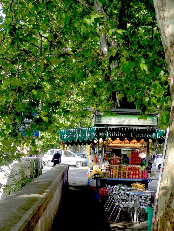 travel blog photography zooming onto a carriage street shop with food and drinks under green trees by the river