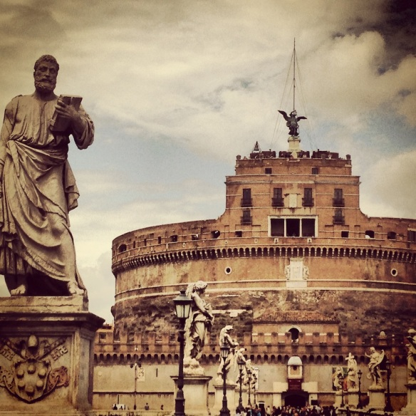 another brown photo of the old stone used to build the magnificent st. angelo in rome
