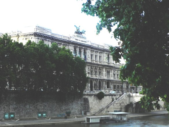 overlooking a beautiful architectural building by the river in rome nearby saint angelo