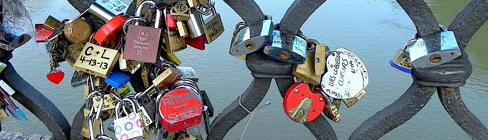 lovelocks at the castel saint angelo bridge river love forever