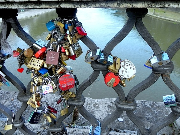 lovelocks at the castel saint angelo bridge river love forever