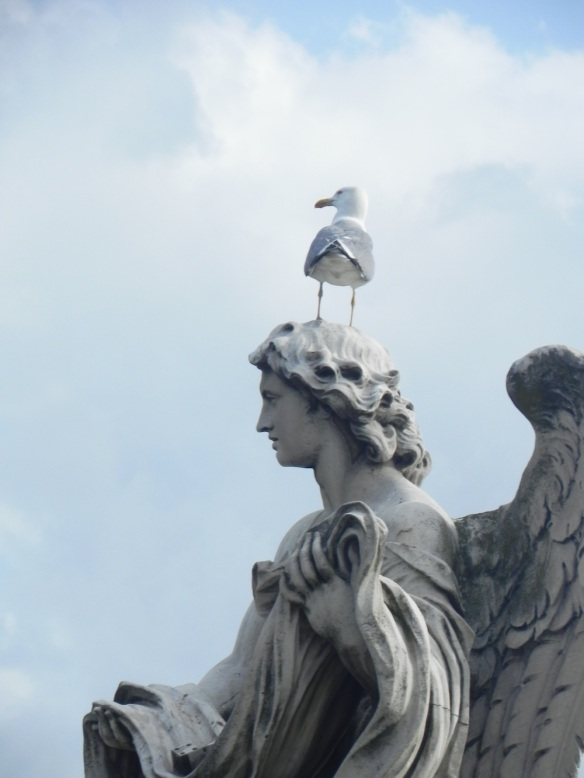 a bird is resting on one of the statues head at the st angelo all white with blue sky