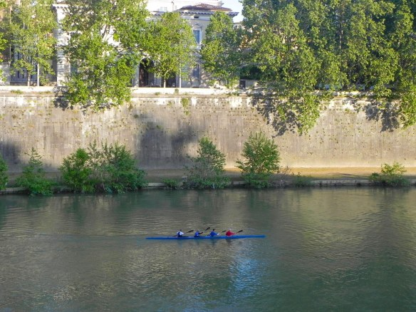 a group of people canoeing at tevere the river of rome