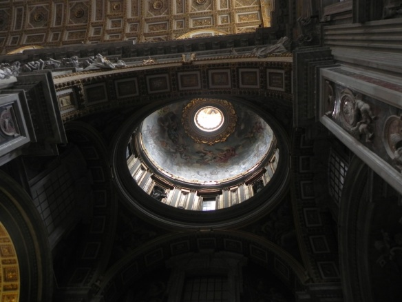the arch of the vatican with the gold interior angels and shadowing art is art