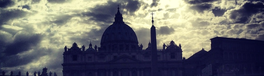 a picture of the shadow of the vatican city in rome formed by the sunset sundown effects