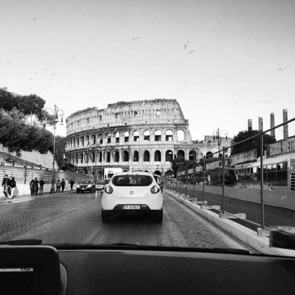 Black and white old film look alike photograph to Colosseum