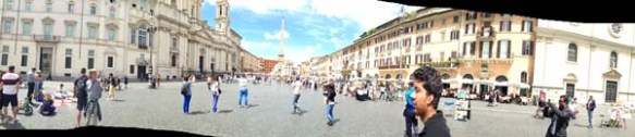 A man crossing Piazza Navona sqaure overview