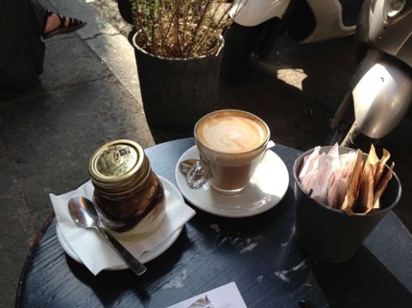cafe latte and the best tiramisu in a jar