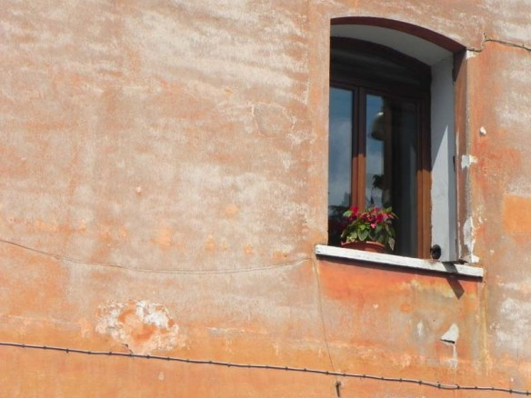 An orange wall with a small window with flower pots
