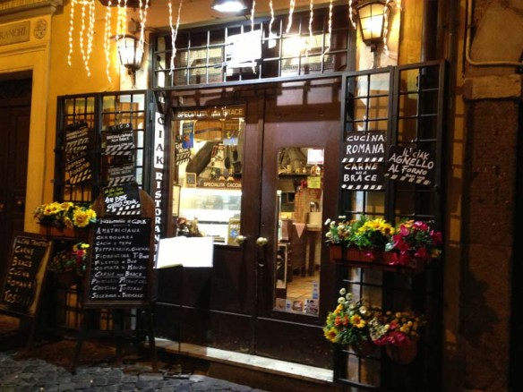 A very cute little market shop restaurant at trestevere rome