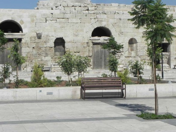 A side entrance bench at the amphitheater roman theater downtown Amman