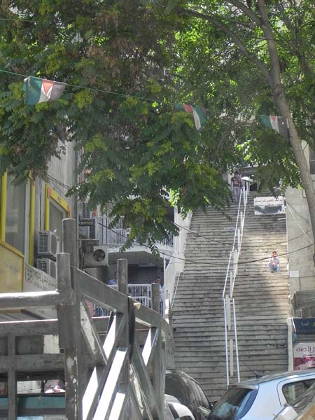 long retro staircase in albalad downtown amman