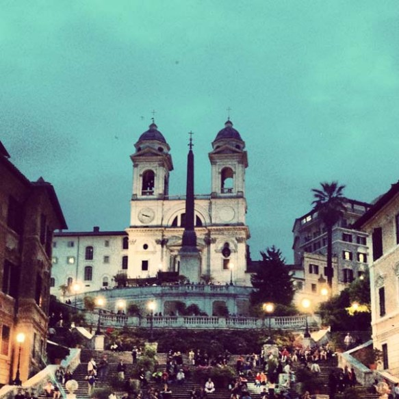 Close up frame photo of Piazza di spagna during evening time