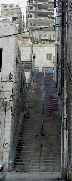 Long colored retro staircase in al balad Amman downtown