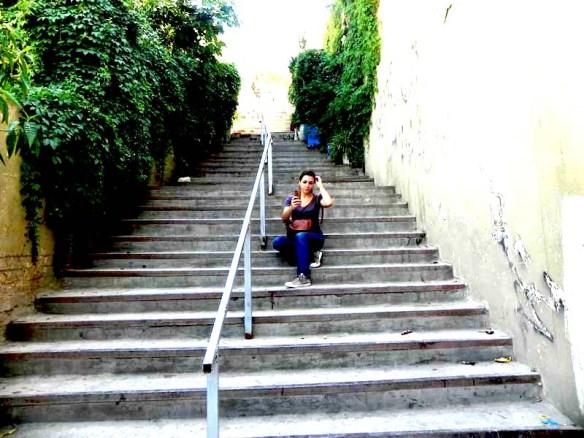 Blogger Razan Masri on a staircase in albalad Amman