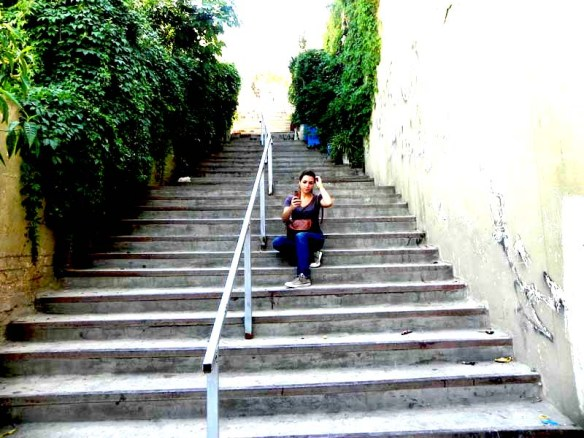 Blogger Razan Masri on a staircase in albalad Amman