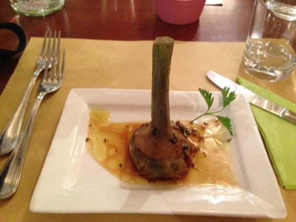 Roman style Artichoke final dish after the making