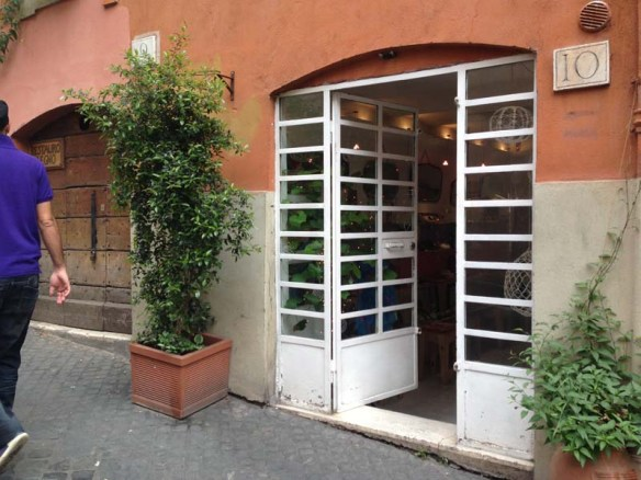 White retro door by the cavour area in rome italy