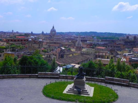 High overview of Rome from Villa Borghese gardens and park