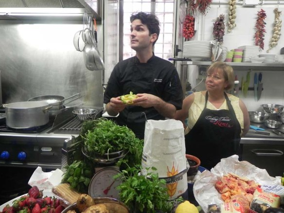 This is chef Andrea during cooking class in rome