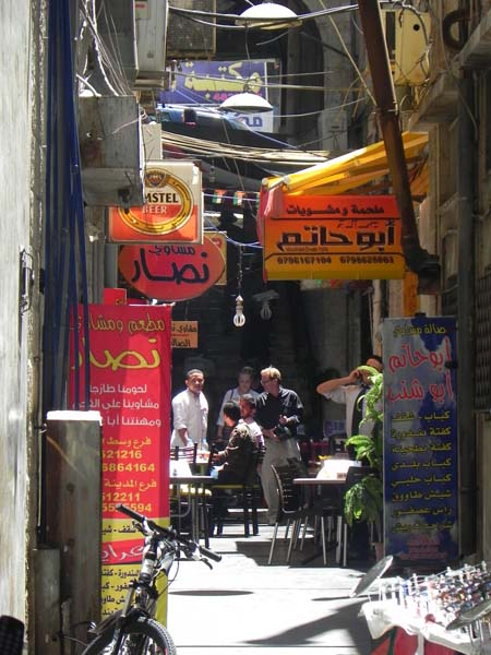 Abu Hatem restaurant between a small alley in downtown albalad amman