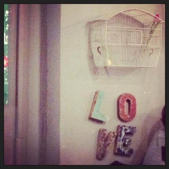 Love sign inside this very cute urban shop restaurant in rome