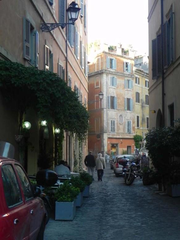 Walking by the streets of tastevere rome nightlight