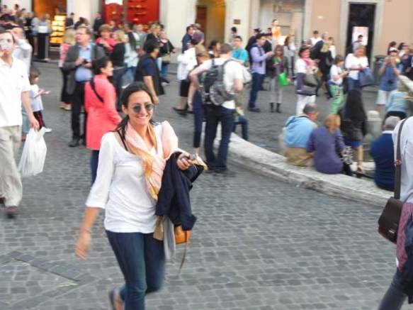 Blogger's host and friend Natasha at the Piazza di Spagna