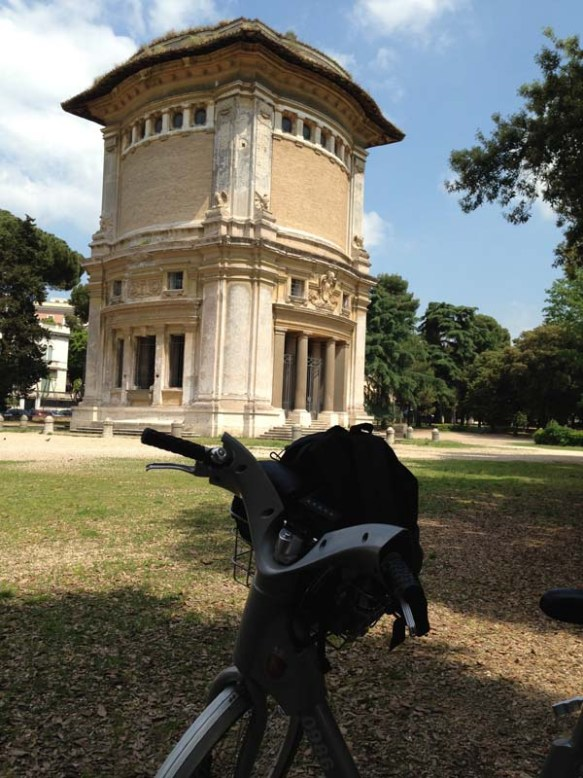 front bike view of the castle at villa borghese