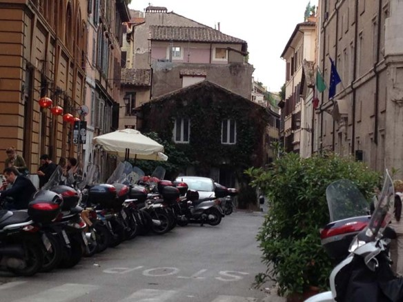 Motor bikes parked at one of the neighborhoods in rome