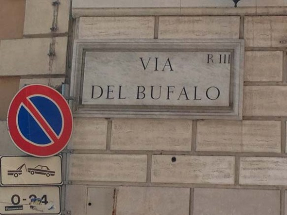 angelina corner via del bufalo street sign