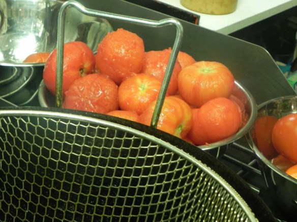 Piled Tomato for sauce during Italian cooking class