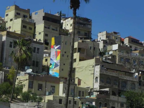 Graffitti wall in between old houses in Amman Downtown