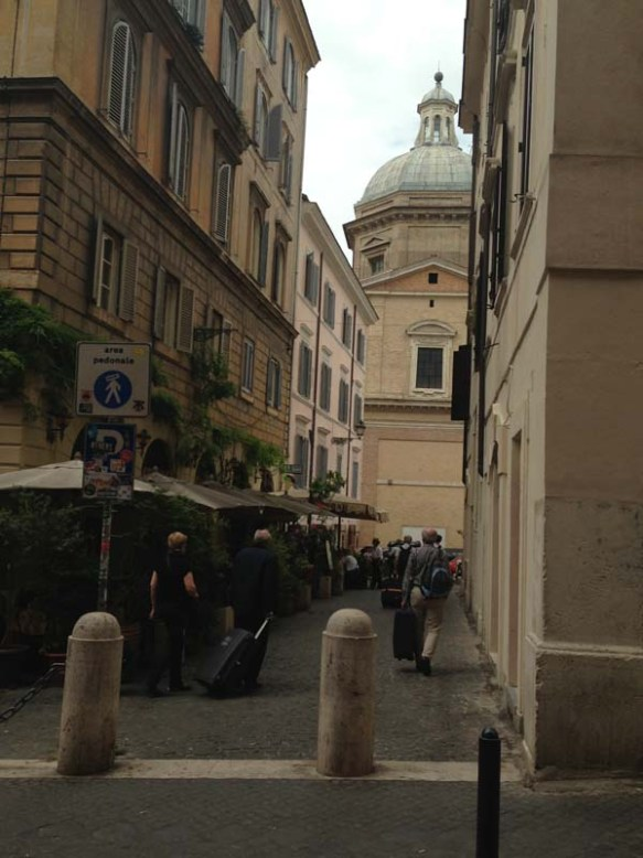 A side walk and one of the beautiful areas in rome - cavour