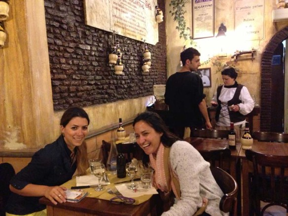 Dinning with my friend at an italian restaurant in the middle of Rome