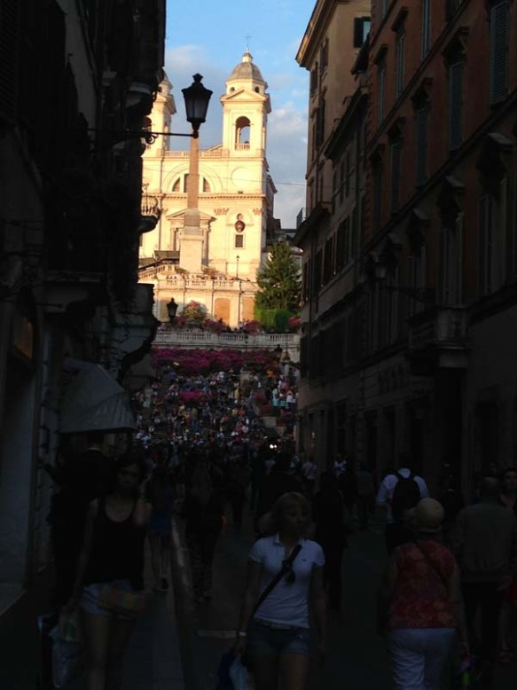 View of spanish steps from via condotti