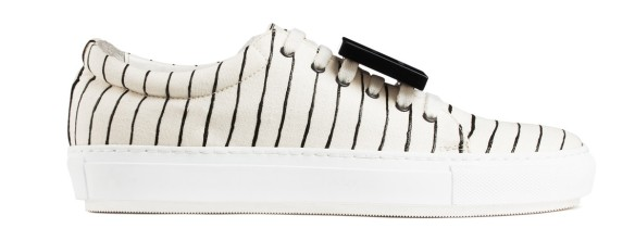 Acne stripes sneakers - Adriana stripe white blk woman shoes