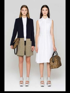 ALC fashion week spring summer 2014 style.com double looks white dress and a long blazer big bags and sandels