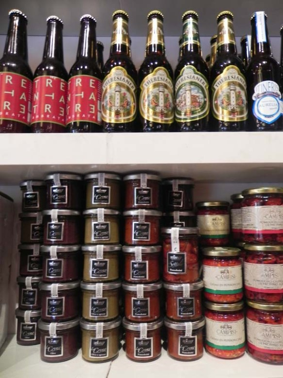 beers and jars of italian products at the baguetteria del fico