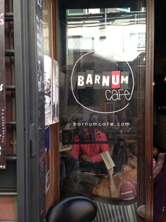 Barmum cafe sign on the entrance door