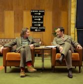 Grand Budapest Hotel scene director Wes Anderson left and Jude Law right