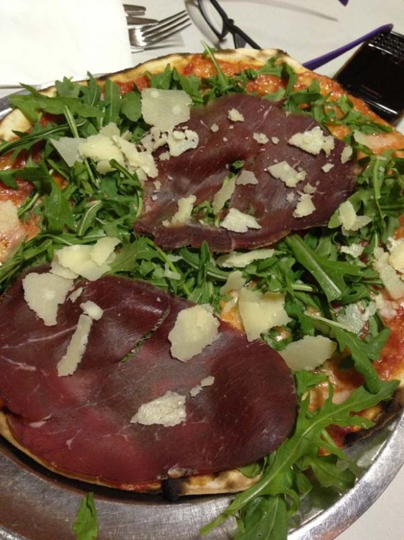 roast beef with rocca and parmesan cheese pizza at navona