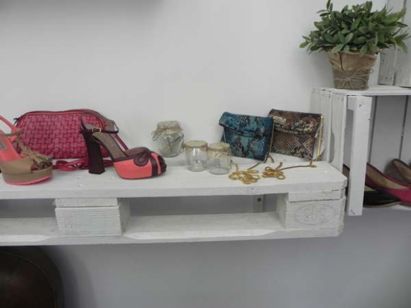 bags and shoes display inside a shop