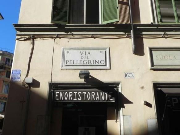 via del pellegrino roma campo de fiori street sign