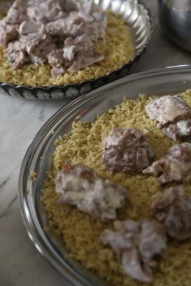 Making Mansaf Recipe rice lamb