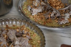 Making Mansaf Recipe rice lamb almond pine nuts