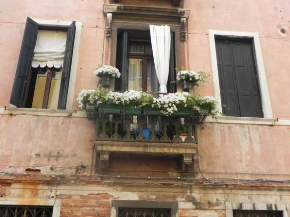 Architecture in venice is breathtaking specially with the beautiful cute little windows and decorations art is in everything white flowers