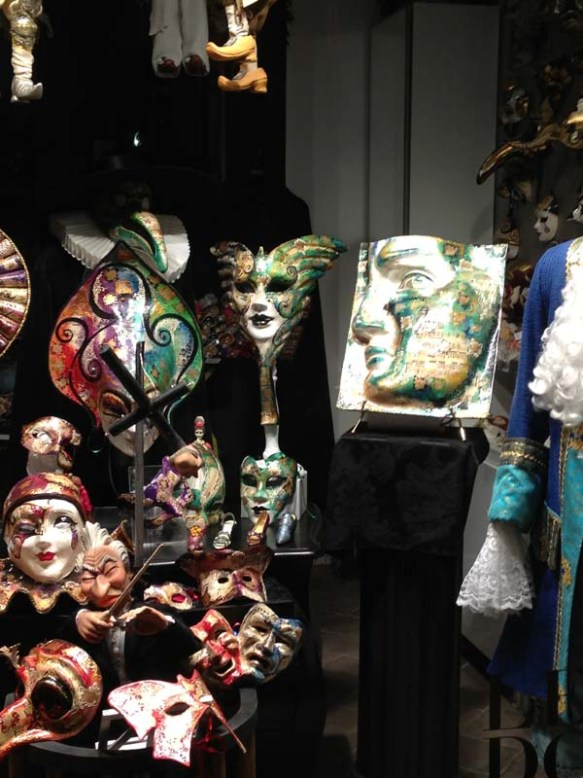 Typical masks worn during the Carnival of Venice.