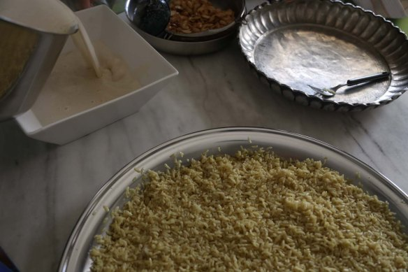 Traditional Jordanian Dish Mansaf in the making